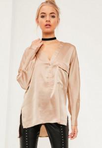 nude-single-pocket-satin-blouse